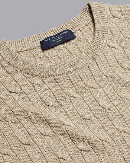 Merino Linen Cable Knit Crew Neck Jumper - Stone