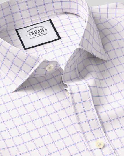 Hemd aus Stretch-Baumwolle mit TENCEL™, Haifischkragen und Karos - Blau & Rosa