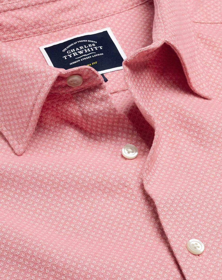 Brushed Cotton Linen Textured Shirt - Pink