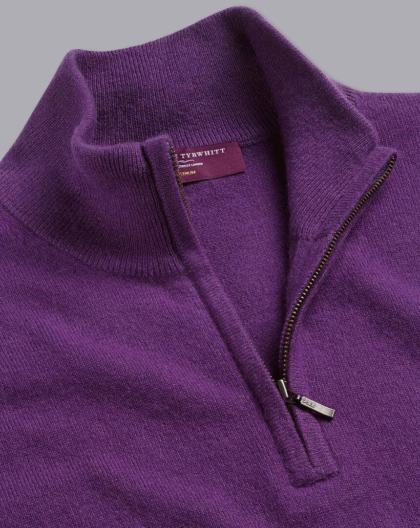 Cashmere Zip Neck Sweater - Purple