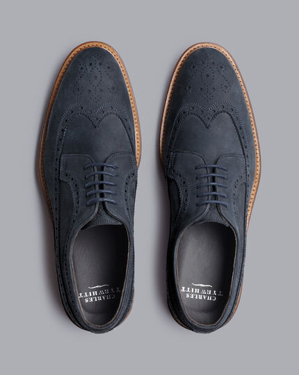 Flexible Sole Nubuck Wingtip Derby Shoes - French Blue