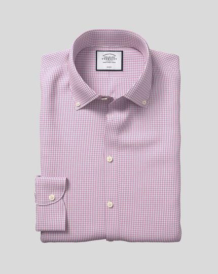 Button-Down Collar Non-Iron Mini Check Shirt - Pink