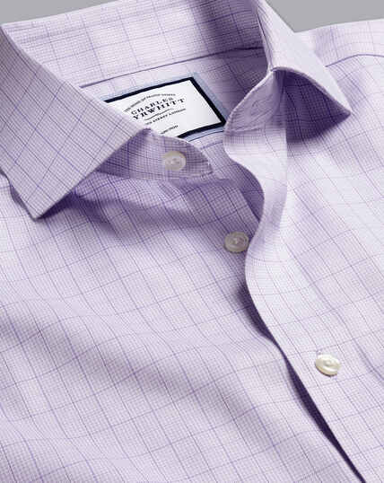 Spread Collar Non-Iron Twill Puppytooth Shirt - Lilac Purple