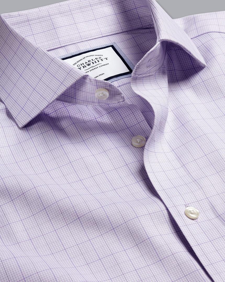 Cutaway Collar Non-Iron Twill Puppytooth Shirt - Lilac Purple