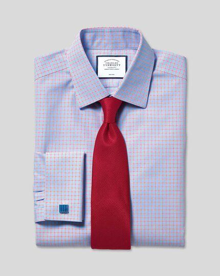 Non-Iron Poplin Check Shirt - Sky & Red