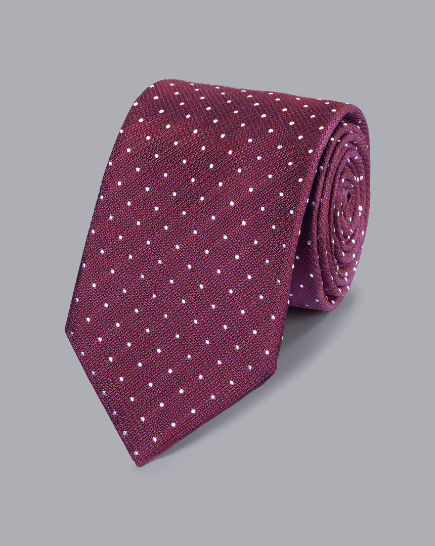Stain Resistant Silk Textured Spot Tie - Burgundy & White