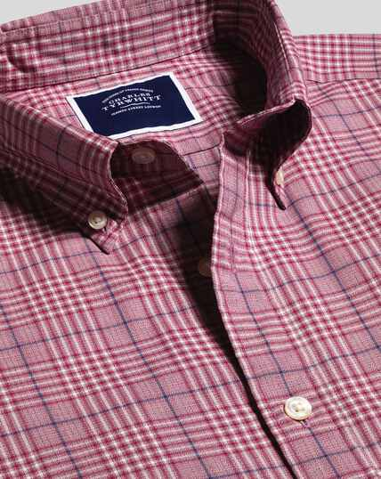 Button-Down Collar Non-Iron Stretch Poplin Large Check Shirt - Berry