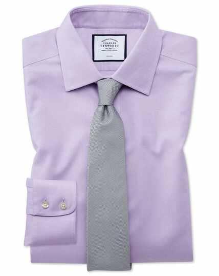 Bügelfreies Hemd aus Gewebe mit Triangelmuster - Flieder