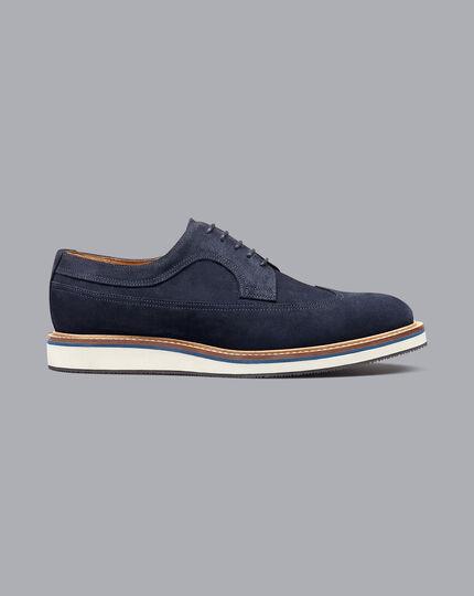 Derby-Schuhe aus Wildleder mit Flügelkappen - Marineblau