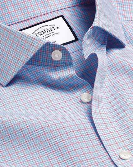 Cutaway Collar Non-Iron Poplin Check Shirt - Sky & Red
