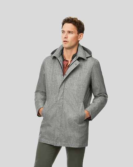 Shower Resistant Hooded 3-in-1 Raincoat - Silver