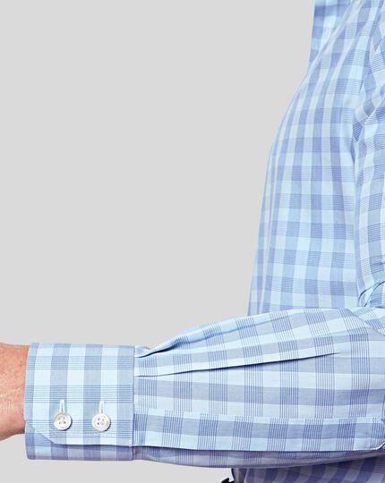 Cutaway Collar Non-Iron Tyrwhitt Cool Poplin Check Shirt - Sky& Blue