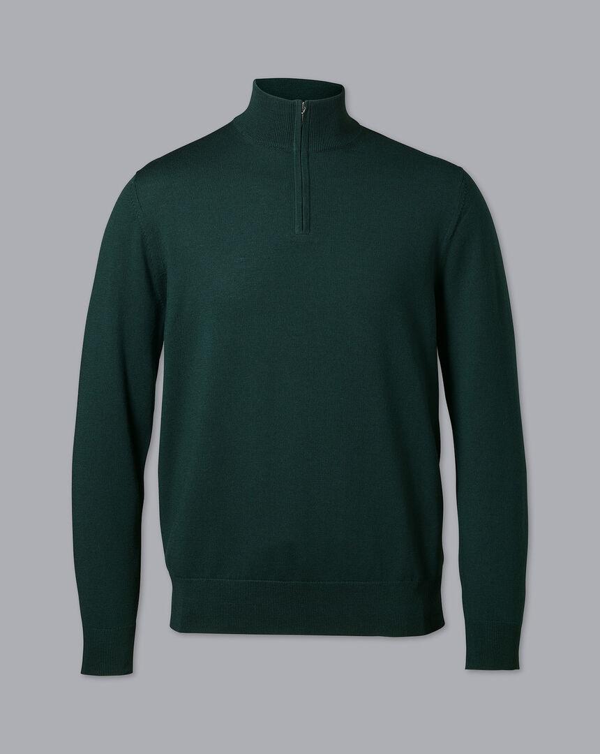 Merino Zip Neck Sweater - Forest Green