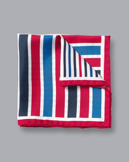 Stripe Quarter Pocket Square - Red & Blue