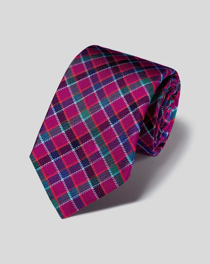 Silk Check English Luxury Tie - Berry & Blue