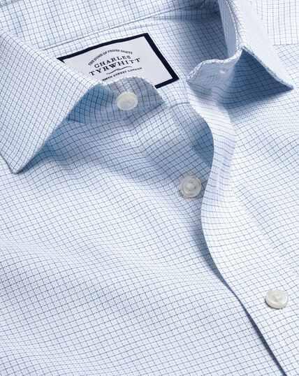 Cutaway Collar Non-Iron Cotton Stretch Check Shirt - Sky