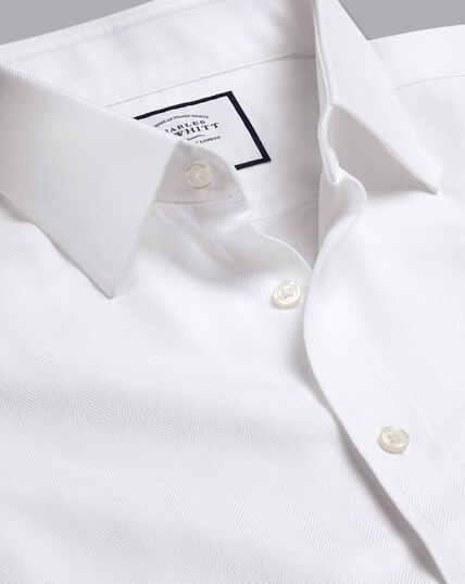 Non-Iron Herringbone Shirt - White