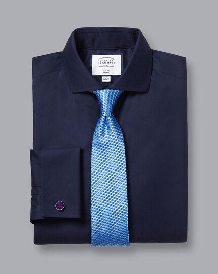 Spread Collar Non-Iron Twill Shirt - Navy