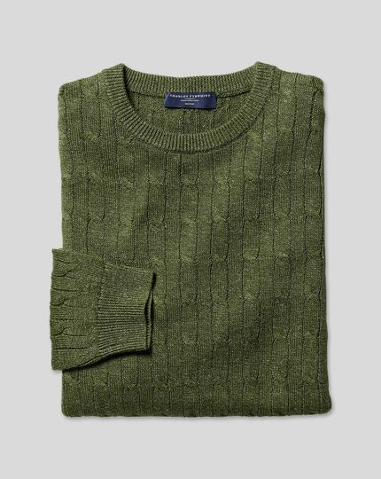 Merino Linen Cable Knit Crew Neck Sweater - Olive
