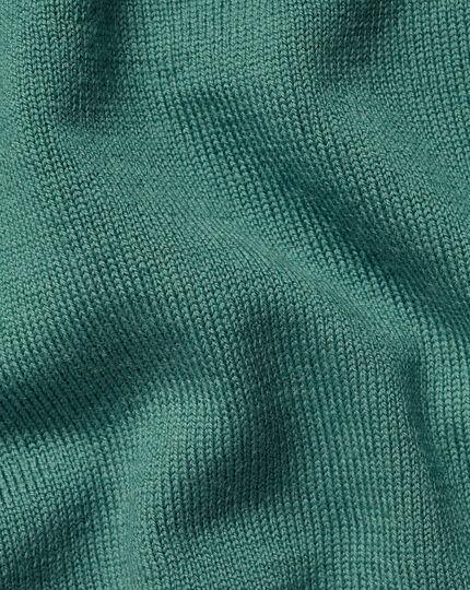 Merino Zip Neck Sweater - Green