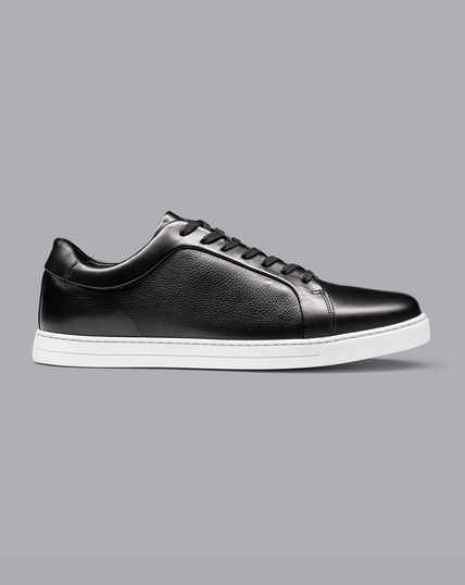 Leather Trainers - Black & White