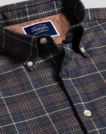 Button-Down Collar Non-Iron Twill Check Shirt - Navy & Gold