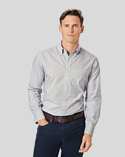 Button-Down Collar Non-Iron Stretch Poplin Check Shirt - Yellow & Blue