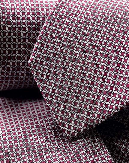 Krawatte aus Seide mit Ketten-Print - Burgunderrot