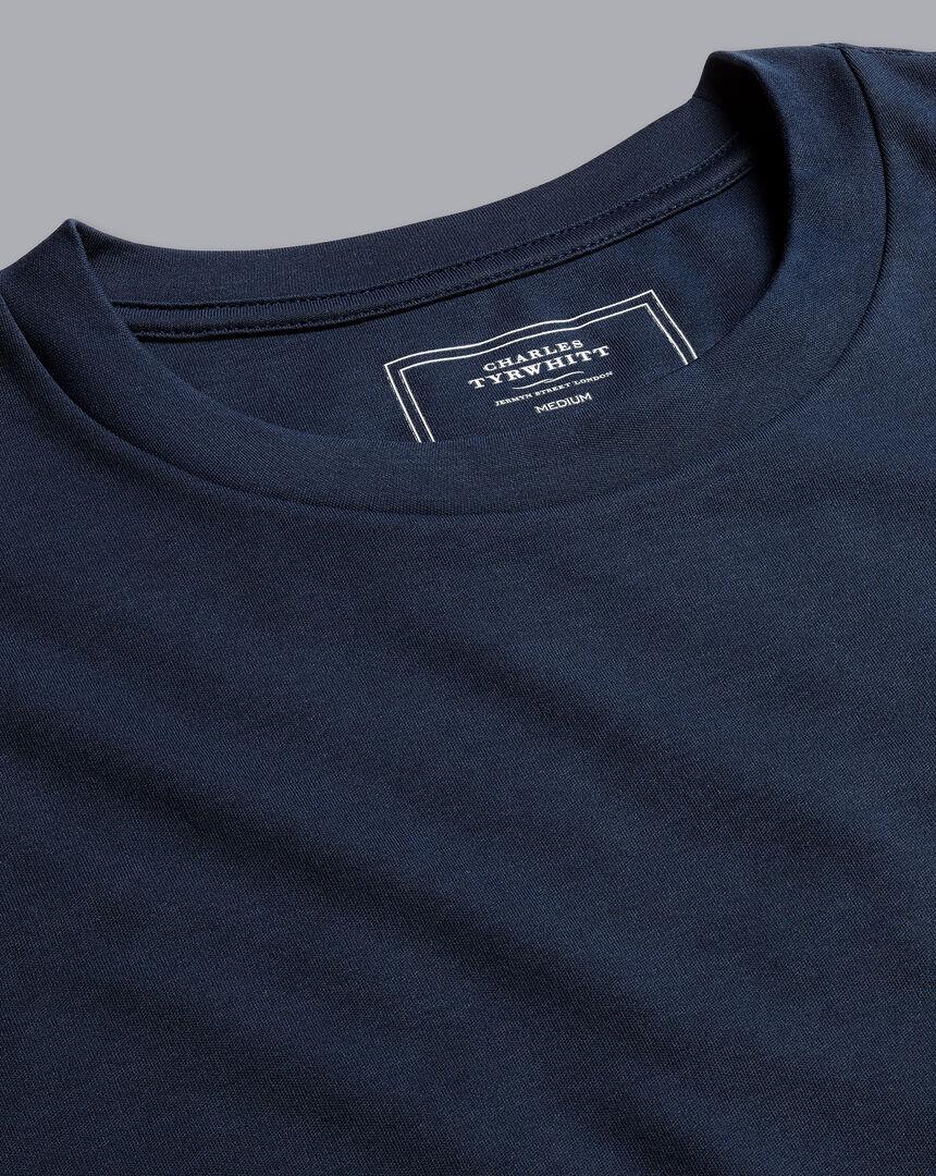 Cotton Long Sleeve Tyrwhitt T-Shirt - Navy