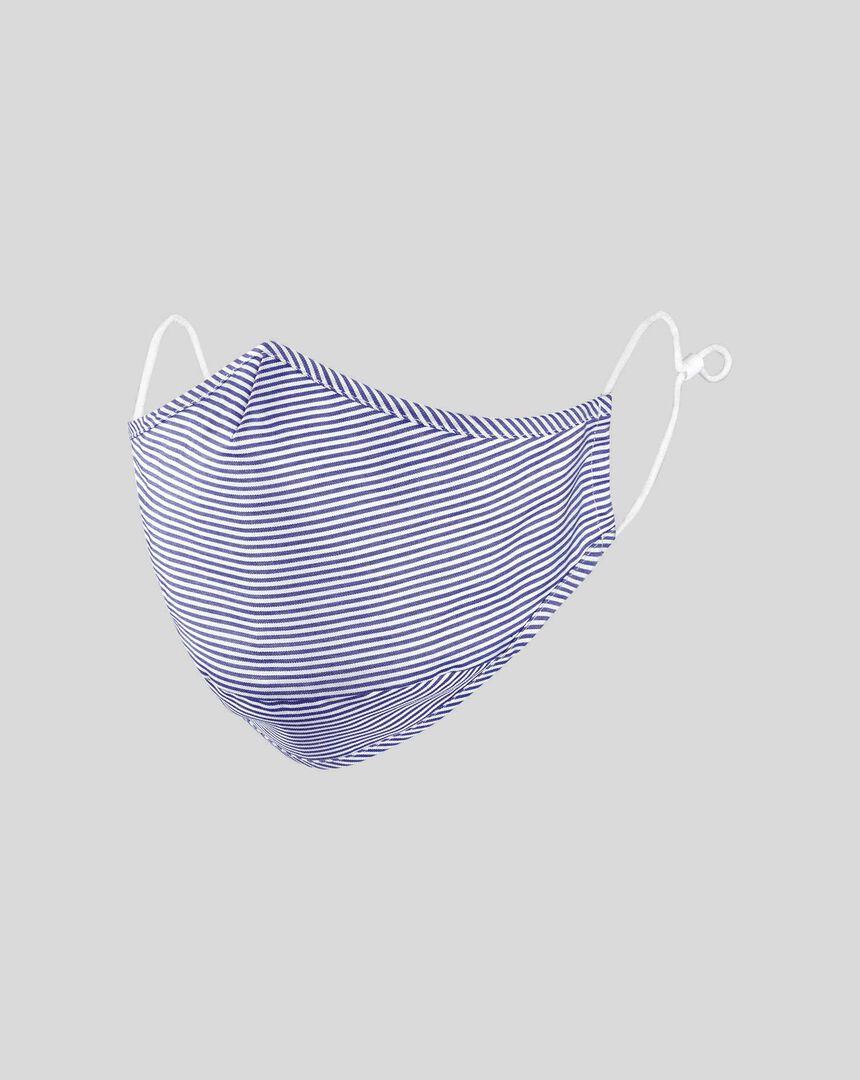 Cotton Bengal Stripe Face Mask - Navy