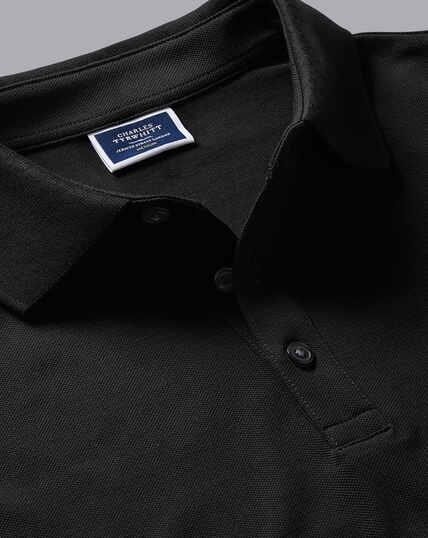 Tyrwhitt Long Sleeve Pique Polo - Black