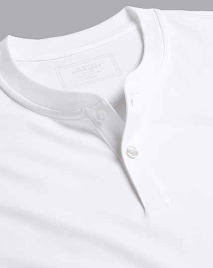 Henley Langarm-Shirt - Weiß