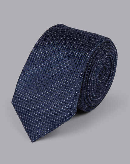 Slim Silk Pindot Tie - Navy