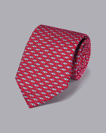 Shark Silk Print Tie - Red