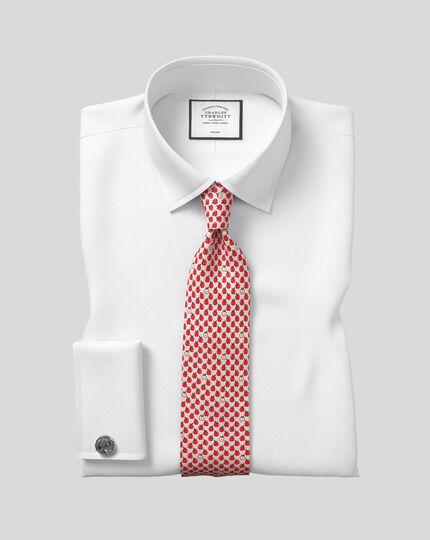 Apple Silk Print Classic Tie - Pink & Red