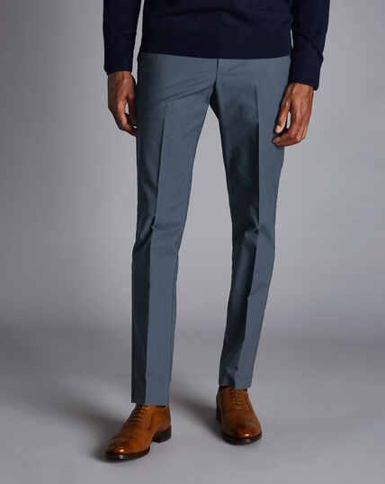 Bügelfreie Stretch-Hose mit Basketweave-Struktur - Blau
