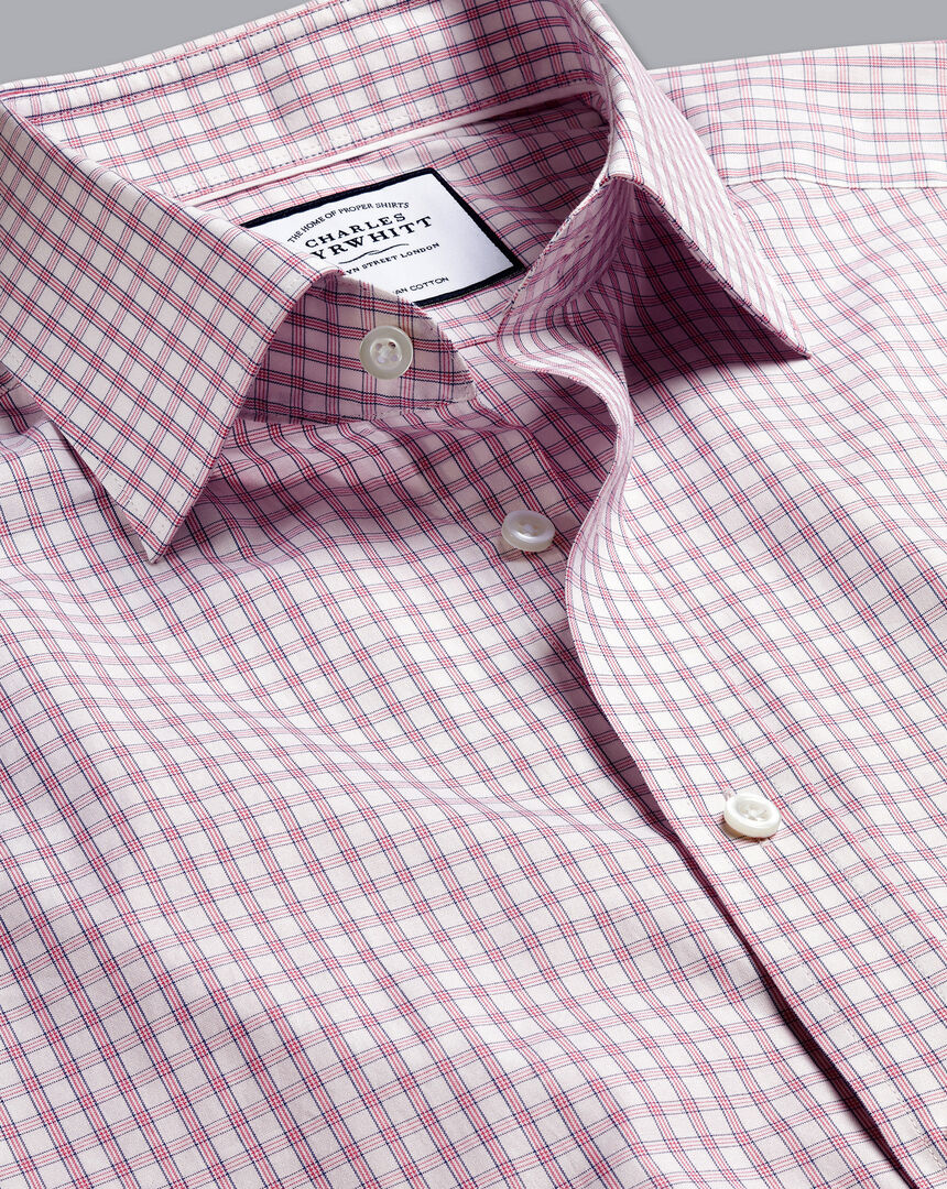 Semi-Spread Collar Egyptian Cotton Poplin Check Shirt - Pink