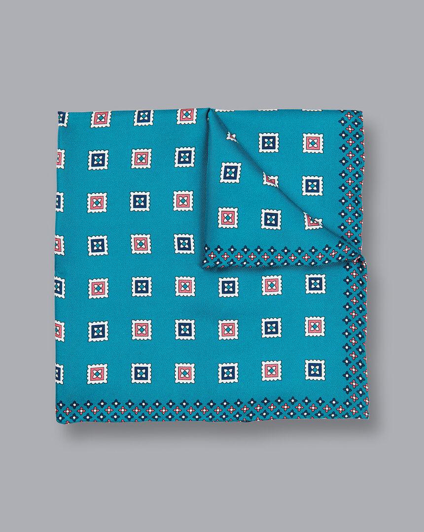Square Geometric Print Pocket Square - Turquoise