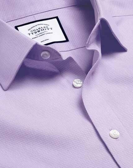 Bügelfreies Hemd mit Kent-Kragen und Mini-Fischgrätmuster - Lila