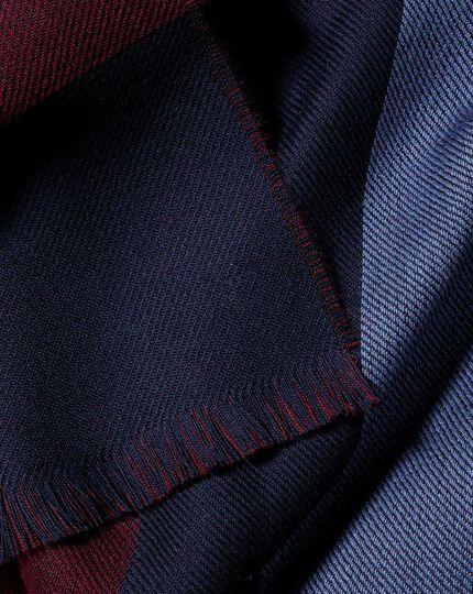 Merino Double Faced Stripe Scarf - Burgundy