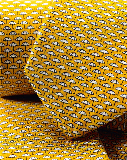 Umbrella Silk Print Tie - Gold
