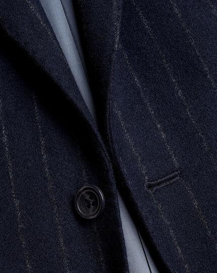 British Luxury Stripe Suit - Dark Navy