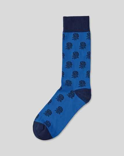 England Rugby Rose Socks - Ocean Blue
