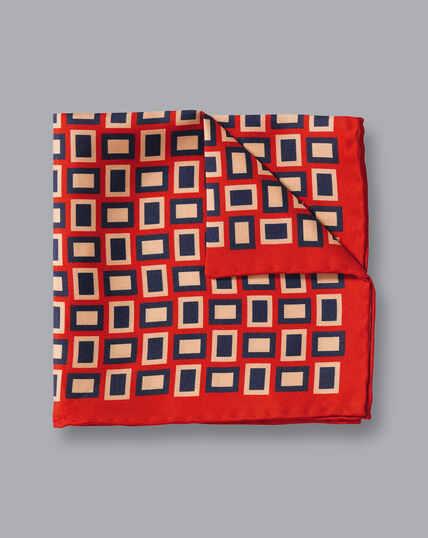 Einstecktuch mit Retro-Rechteck-Print - Orange & Marineblau
