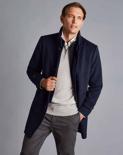 Mantel aus Wolle mit Stehkragen - Tintenblau