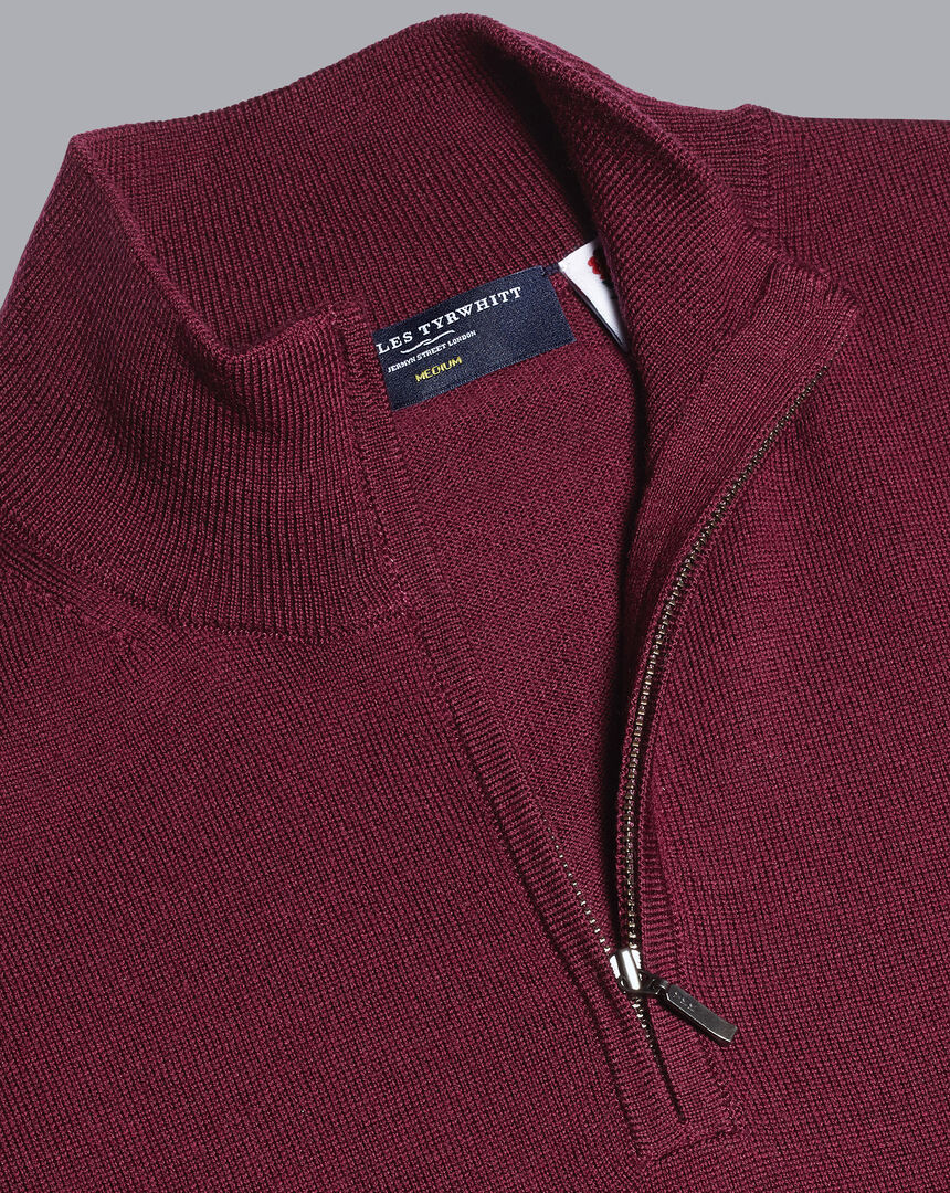 England Rugby Merino Zip Neck Sweater - Burgundy