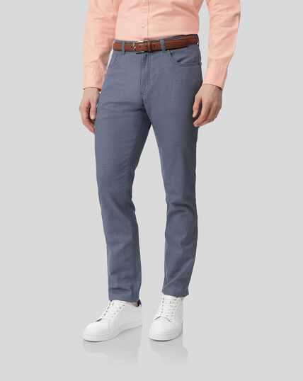 Textured 5-Pocket Pants - Blue