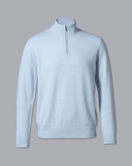 Merino Zip Neck Sweater - Light Blue