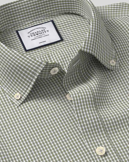 Bügelfreies Hemd mit Button-down-Kragen und Karos - Olivgrün