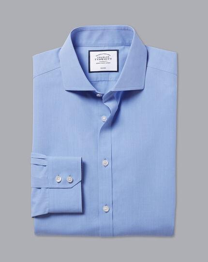 Spread Collar Non-Iron Tyrwhitt Cool Poplin Shirt - Mid Blue